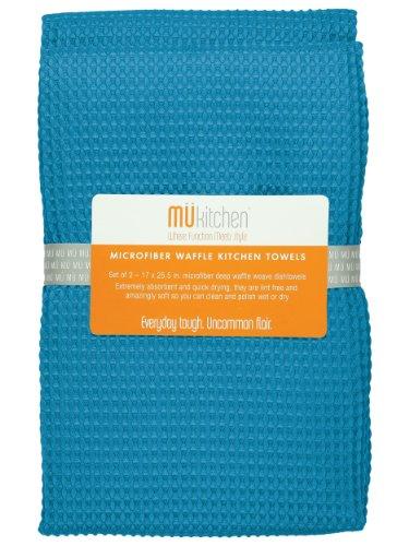 MUkitchen Microfiber Waffle Dishtowel, 17 by 25-1/2 Inches, Set of 2, Sea ()
