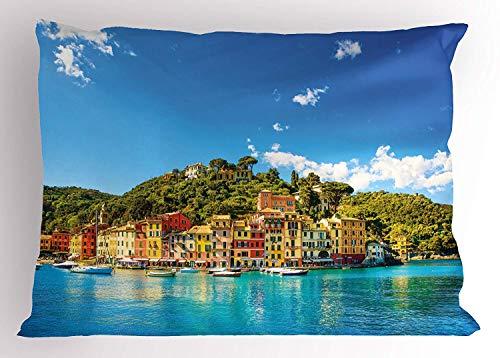 K0k2t0 Village Pillow Sham, Mediterranean European Town by The Sea Portofino Italian Harbor Panorama View, Decorative Standard Queen Size Printed Pillowcase, 30 X 20 inches, Blue and Green
