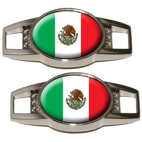 Golf Shoe Charm - Mexico Mexican Flag - Shoe Sneaker Shoelace Charm Decoration - Set of 2