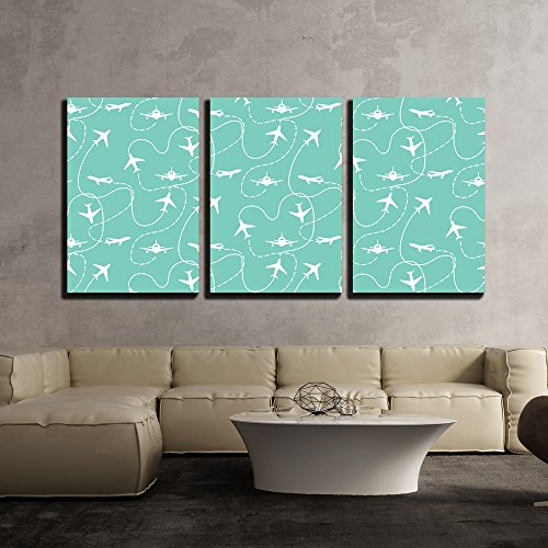Vector Travel Around the World Airplane Routes Seamless Pattern x3 Panels