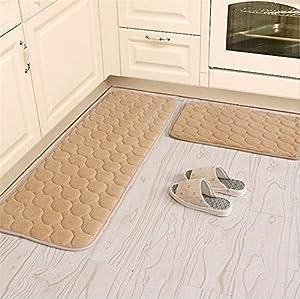 Kitchen Rugs,CAMAL 2 Pieces Non-Slip Memory Foam Kitchen Mat Rubber Backing Doormat Runner Rug Set
