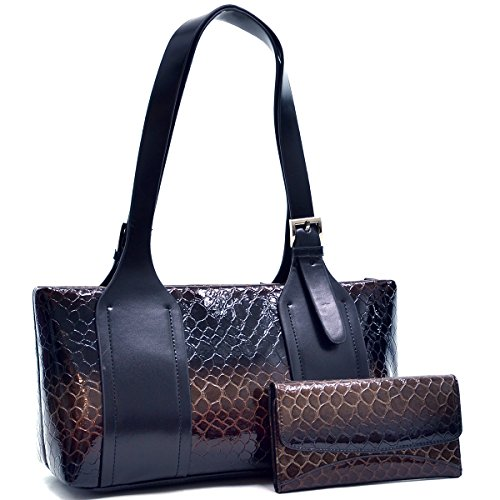 dasein-womens-alligator-snake-skin-leather-like-shoulder-bag-handbag-2-tone-brown-black