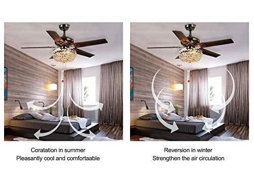 LuxureFan Retro Crystal Ceiling Fan Light with Elegant Crystal Cover and 5 Premium Metal Leaves Elegant for Modern Living Room Restaurant Pull Chain Control of 48Inch  by Luxure Fan (Image #2)