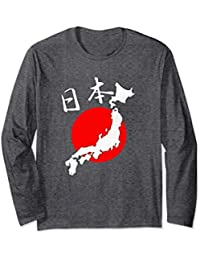 Map of Japan with Japanese Characters Nihon Long Sleeve