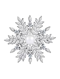 EleQueen Women's Silver-Tone CZ White Simulated Pearl Winter Snowflake Bridal Brooch Clear