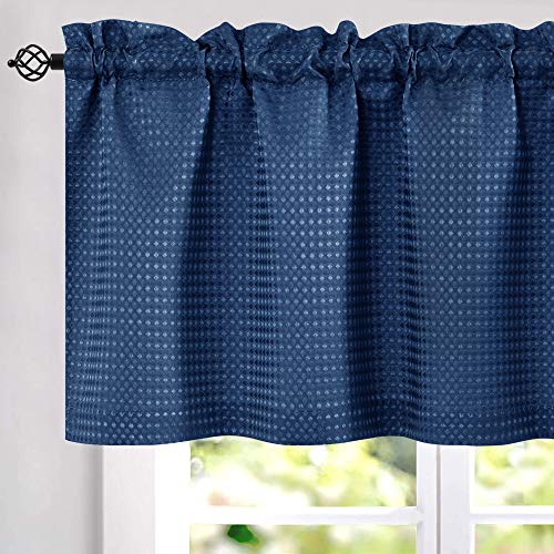 jinchan Waffle-Weave Window Treatment Valances Water Repellent Bathroom Curtain Panels 60 x 18 inch Navy Blue One Panel