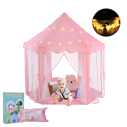 Ejoyous Princess Castle Kids Play Tent  Baby  Toddler  Child  Girls Indoor And Outdoor Play House With Star Led Lights  Large  Pink
