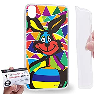 Case88 [HTC Desire 820] Gel TPU Carcasa/Funda & Tarjeta de garantía - Art Drawing Rabbit Hare Kawaii Abstract Animals Art2571