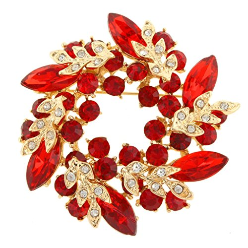 EVER FAITH Gold-Tone Austrian Crystal Wedding Flower Wreath Brooch Pin Red