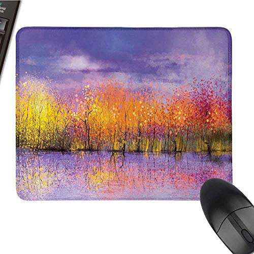 Autumncomputer Mouse padSeasonal Landscape Paint with Shady Fall Trees by River Pastel Artwork PrintBlack Cloth Mousepad 9.8