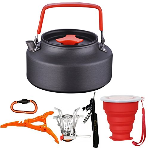 9cs Camping Tea Kettle Stove Canister Stand Tripod Collapsible Cup Carabiner Set Bisgear Mess Kit Backpacking Hiking Gear Outdoors Bug Out Bag Water Kettle Teapot Coffee Pot