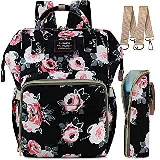 Diaper Bag Backpack for Girls Boys, Floral Baby Bag Maternity Nappy Bag Changing Pad, Stroller Hooks, Insulated Bottle Bag