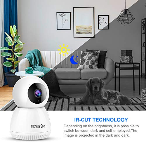 Security Camera,2k Video quqlity ,300MP,Night Vision,Motion Detection,Baby Monitor,Wireless Home Surveillance Camera ,Cloud Service/Vision Motion Detect for Home/Shop/Office (White)
