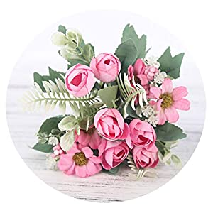 HuaHua-Store Rose Artificial Silk Flowers Bouquet Fake Flowers Daisy Bud Decoration for Wedding Home Foam Accessories,Pink 58