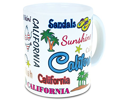 "Puzzled ""California Style Mug, 11 Ounce Coffee Milk Tea Tumbler Insulated Glassware Travel Cup with Handle Dishwasher Microwave Safe Drinkware Famous Sites Beach Tropical Island Themed Kitchen Supp"
