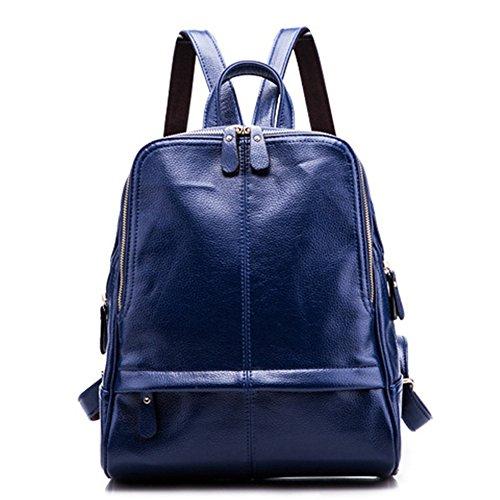 Anne - Bolso mochila  de Piel para mujer negro granate Azul