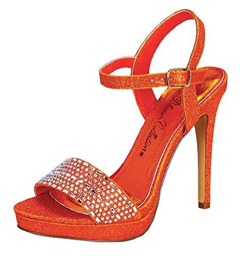 Blossom Women's Charlie-12 Dressy High Stiletto Platform Heel Single Strap SandalsSexy Booties Orange 10