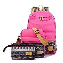 SymbolLife Casual Style Lightweight Canvas Laptop Bag/ Shoulder Bag/ Bookbag/ School Backpack with Cross-body Bag and Purse/Pen Bag