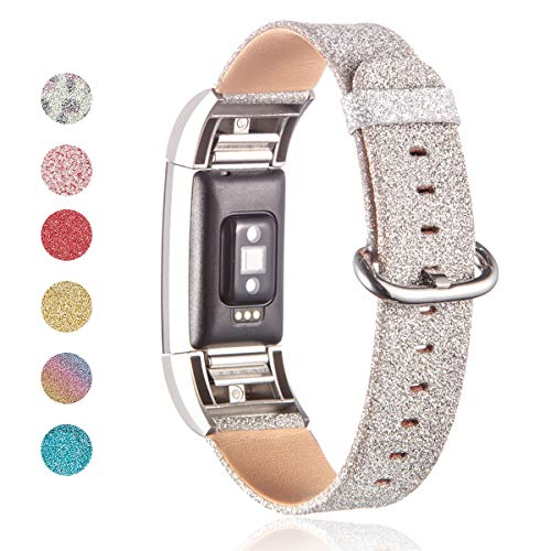 XR MYSTERY Leather Bands Compatible Fitbit Charge 2, Casual for Women Bands Soft Fashion Leather Wristband Replacement Genuine Wristband Straps (Silver)