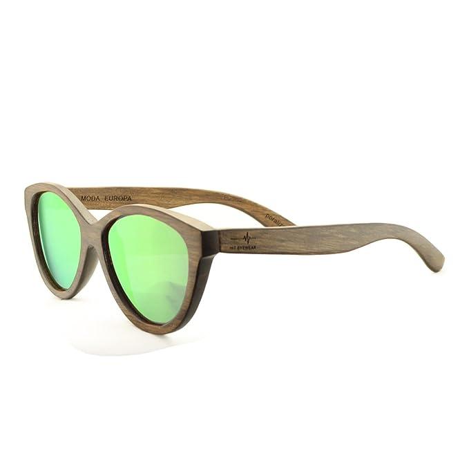 Gafas de Sol Modelo Ojo de Gato Polarizadas de Madera Color Nogal, Color de Lente