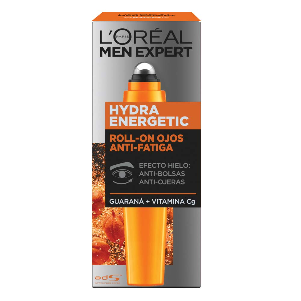 LOréal Paris Men Expert Hydra Energetic Roll-on de Ojos Efecto Hielo, Anti Bolsas y Ojeras - 10 ml