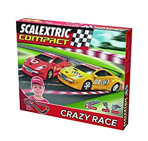 Scalextric Compact - Circuito Crazy Race CC19XDL Compacto: escala reducida 1:43 - ocupa menos (C10125S500)