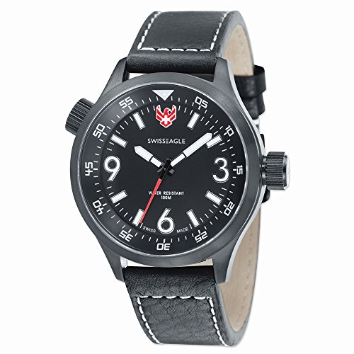 Mens Swiss Eagle Sergeant IP Black-plated Black Dial Watch