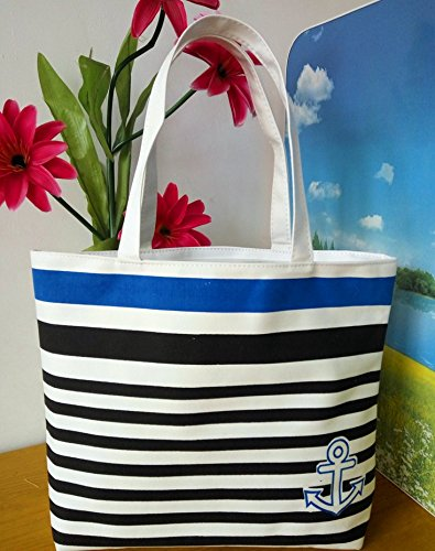 Foopp creative a righe navy stile tela shopping borsa a tracolla