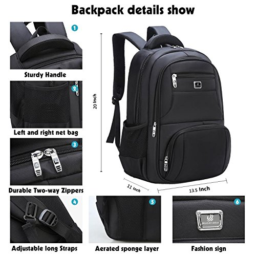 Laptop Backpack Computer Business Bag Water-Proof with School Travel Backpack for 17 Inch Backpack by BTKD (Image #1)