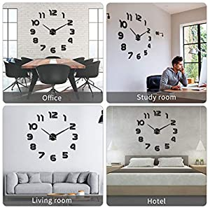 SOLEDI Reloj de Pared 3D DIY Reloj de Etiqueta de Pared Decoración Ideal para la Casa Oficina Hotel Restaurante 4