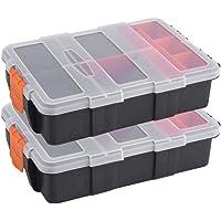2Pack Caja de almacenamiento de herramientas de plástico, Caja de herramientas de tornillo de dos capas para tareas pesadas Pequeñas herramientas electrónicas Componentes del soporte Caja de almacenamiento Piezas pequeñas Caja de organizador de herramientas