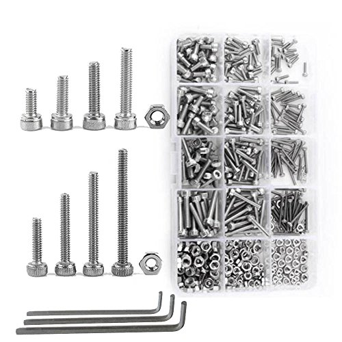 Allen Key Bolt - NUZAMAS 480 Pieces M2 M3 M4 304 Stainless Steel Hex Socket Cap Head Bolts and Nuts Assortment & Allen Key Wrench Kit with Storage Box