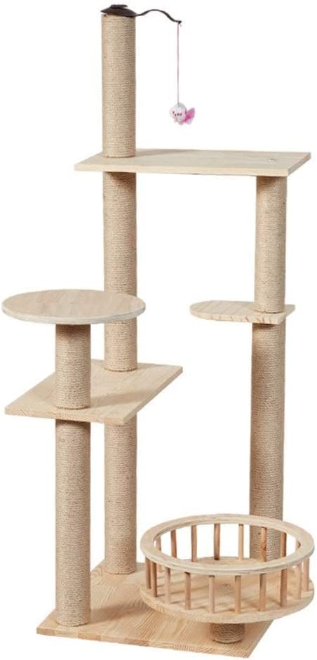 qazxsw -Cat Scratching Post 49.2 Inches Cat Tree Modern Wooden Cat Furniture Featuring 2 Dangling Toys, Sisal-Covered Scratching Posts, and Perch