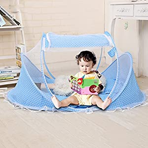WALLER PAA Kids Baby Mosquito Net Tent Mattress Cradle Bed Canopy Cushion +Pillow+Music Bag (Blue)