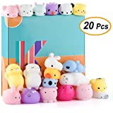 KUUQA 20 Pcs Kawaii Animal Mochi Squishies Toys Cute Mini Soft Squishy Cat Rabbit Panda Squishies Animals Squeeze Stress Relief Balls Toys for Kids Birthday Party Favors Gift Bags