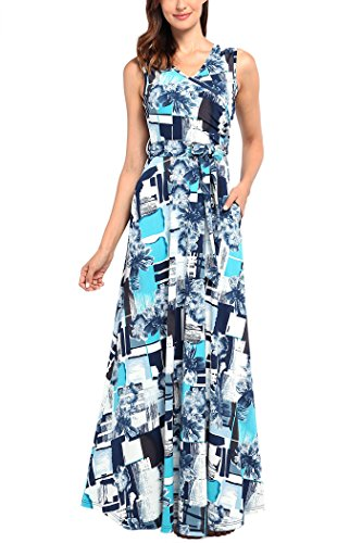 (Comila Maxi Dresses for Women Summer, Ladies Business Work Tank Long Floral Maxi Dresses Fashion Empire Waist Flowying Formal Party Dress Turquoise S (US 4-6))