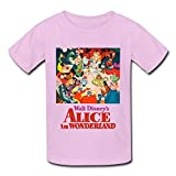 DASY Unisex O Neck Alice In Wonderland Walt Disney Tee Large Pink 6-16 Years Old