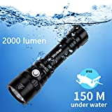 Diving Flashlight, Waterproof Scuba Diving Light 18650 with Cree XHP35 HD LED 5300K 4 Modes 2000 Lumens Underwater150m/164yard with Battery