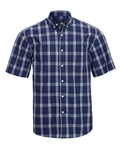 (Double Pump Short Sleeve Shirts for Men 100% Cotton Regular Fit Short Sleeve Button Down Shirts for Men(RM09SS04,L))