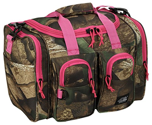 Womens Small 15 Inch Pink Hunters Camo Duffel Duffle Outdoor Sport Gym Shoulder Bag with Key Ring Carabiner For Sale