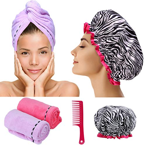 Microfiber Hair Towel Turban Wrap - 2 Pc Head Wraps for Women Bundled with Shower Cap and Comb for Women Anti-Frizz Absorbent Twist Drying Shower Towel Hat Works Like Magic Quick Dry