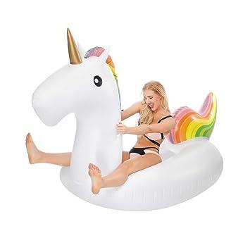 Flotador Unicornio, Inflable Gigante de Unicornio Flotador ,Juguete Inflable para fiesta de piscina con