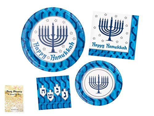 Hanukkah Party Supply Pack! - Happy Hanukkah Minorah Design - Disposable Dinnerware - 16 Guests - Includes Dinner Plates, Dessert Plates and Napkins