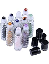 Thread-shape Glass 10 ml Roller Balls for Essential Oils - Small Glass Roller Bottles with Decorative Tops & Tumbled Gemstone Chips Inside, 10 pcs