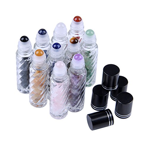 - Thread-shape Glass 10 ml Roller Balls for Essential Oils - Small Glass Roller Bottles with Decorative Tops & Tumbled Gemstone Chips Inside, 10 pcs