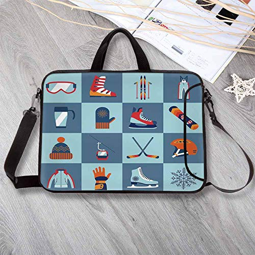 Kids Custom Neoprene Laptop Bag,Ice Skating Winter Sports Skiing Boot Cap Glasses Glove Helmet Skates Snowboard Print Laptop Bag for Men Women Students,15.4