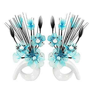 FLOWER DREAMS RED ROSE FIGURINE Flourish 794736 QH1 Matching Pair of White Vases with Teal Blue Nylon Artificial Flowers in Vases Fake Flowers Ornaments Small Gift Home Accessories 32cm 68