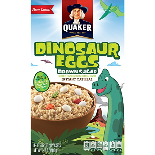 Quaker Instant Oatmeal, Dinosaur Eggs and Brown Sugar, Breakfast Cereal, 14.1 Ounce -