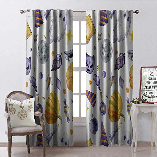 Hengshu Halloween Freehand Watercolor Style Pattern Thermal Insulating Blackout Curtain Blackout Draperies for Bedroom W84 x L108]()