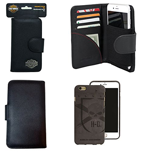 Harley Davidson Credit Card and Cash Wallet Case with Gray Skull Harley Davidson Cover for iPhone 6 PLUS.